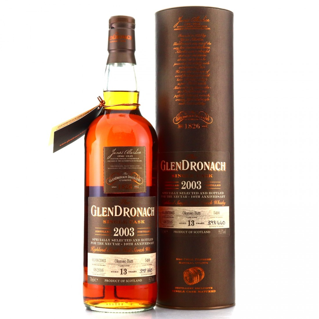 Glendronach 2003 Single Cask 13 Year Old #5490 / The Nectar 10th Anniversary