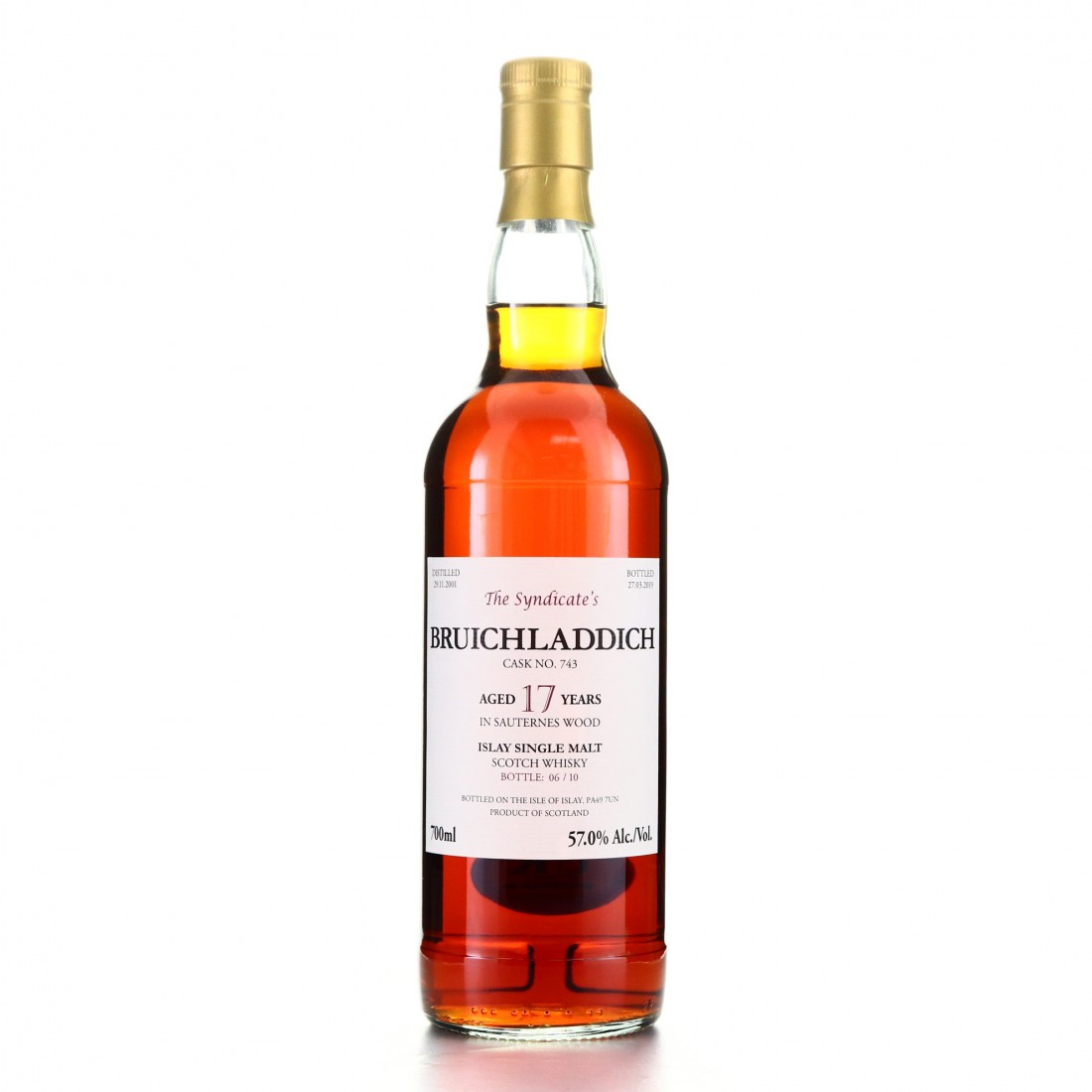 Bruichladdich 2001 The Syndicate 17 Year Old / One of only 10