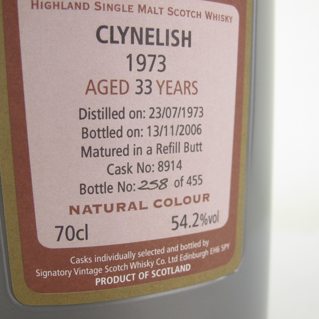 Clynelish 1973 Signatory Vintage 33 Year Old