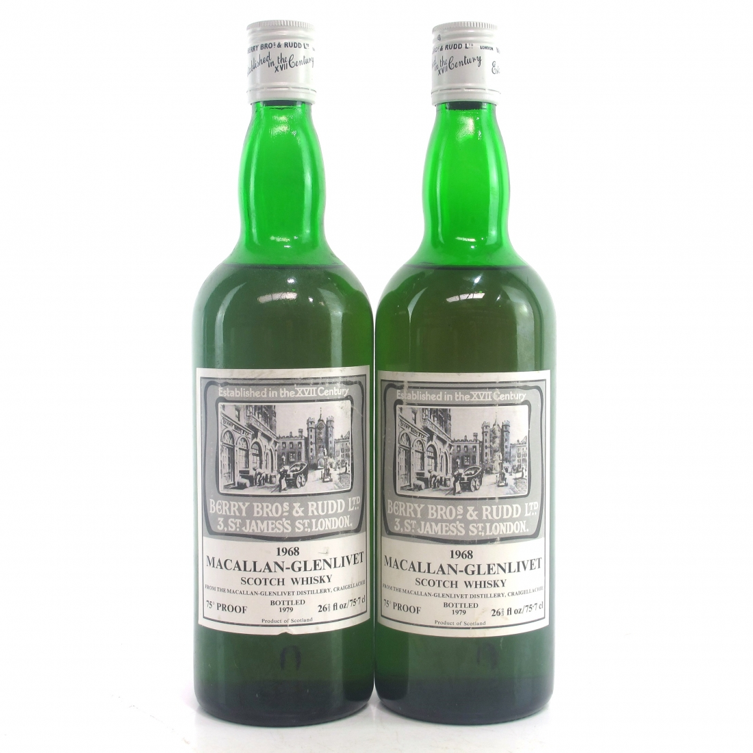 Macallan 1968 Berry Brothers and Rudd 2 x 26 2/3 Fl Ozs