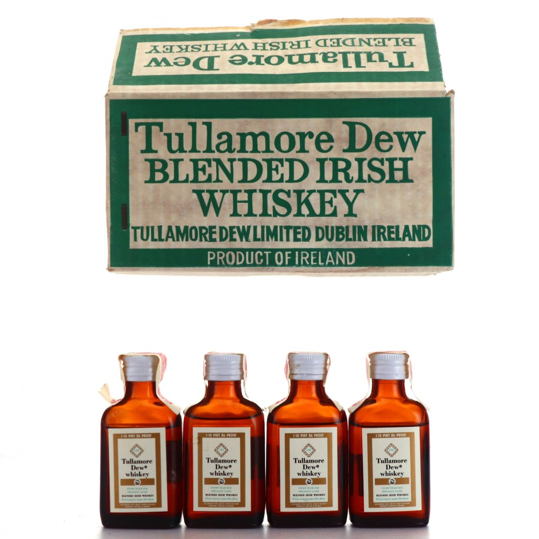 Tullamore Dew 8 Year Old Miniatures x 20 1968 / Case - US Import