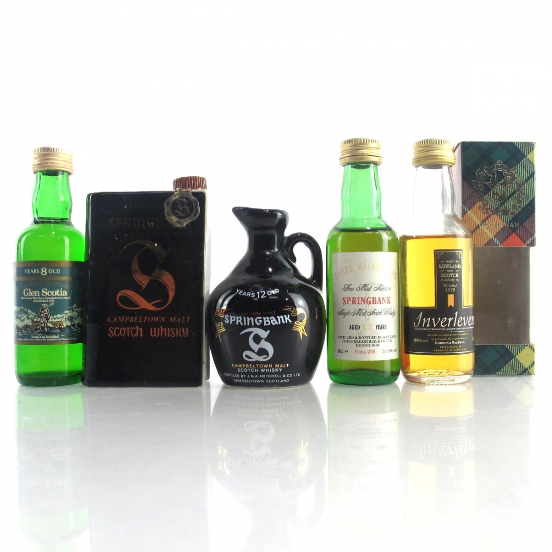 Campbeltown & Lowland Miniature Selection x 5 / includes Springbank 12 Year Old