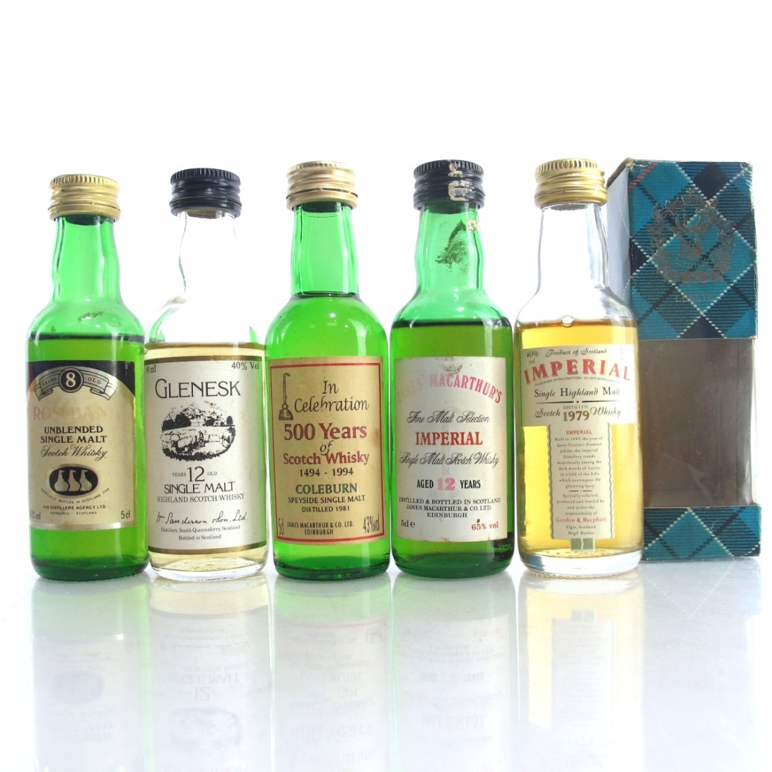 Closed Distillery Miniatures 5 x 5cl / includes Rosebank 8 Year Old