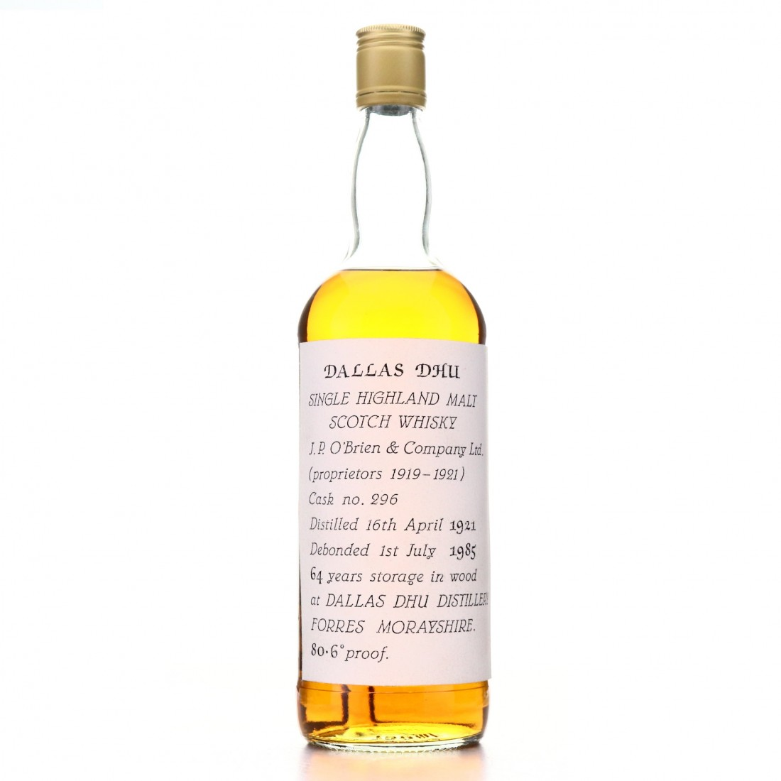 *Dallas Dhu 1921 Single Cask 64 Year Old #296