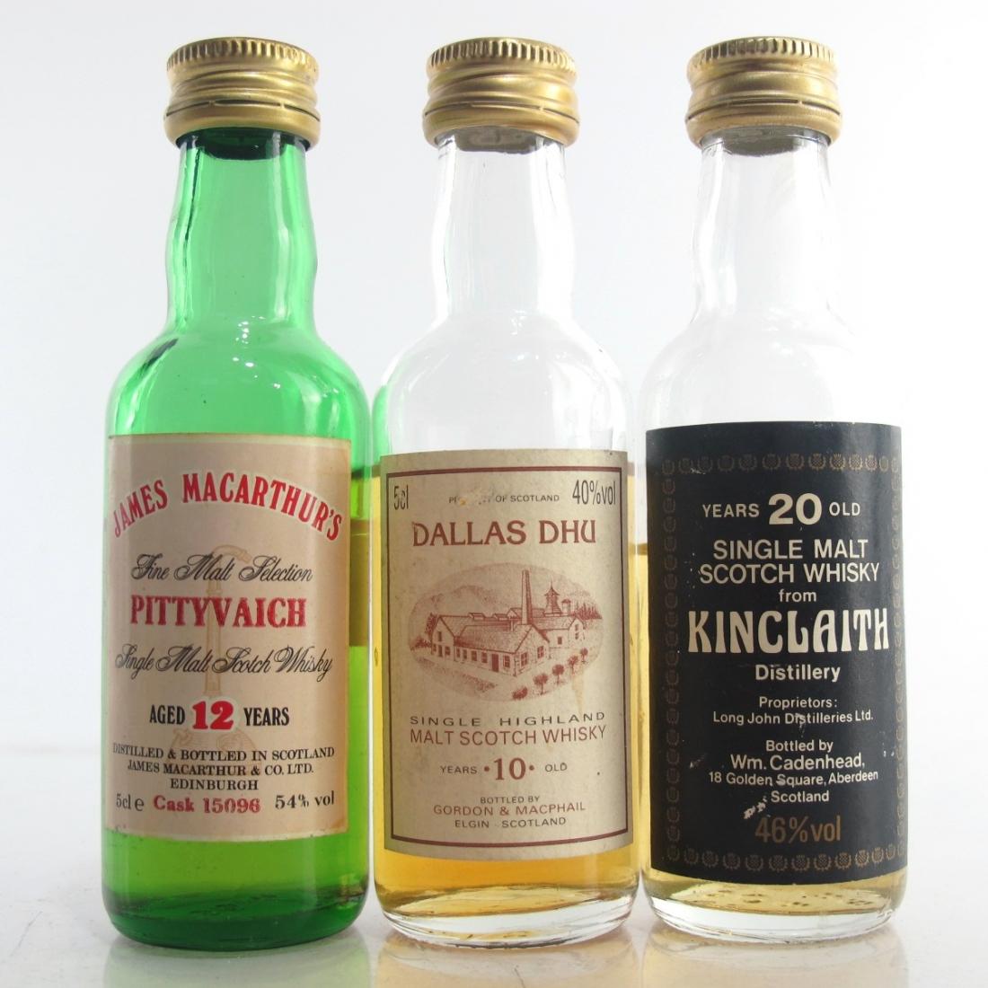 Closed Distillery Miniatures x 3 / including Kinclaith 20 Year Old