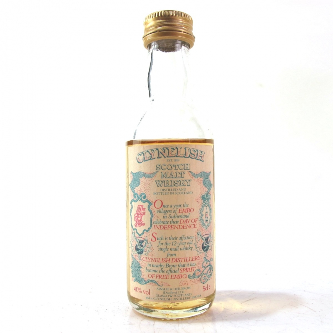 Clynelish 12 Year Old / Spirit of Free Embo Bottled 1988 Miniature 5cl