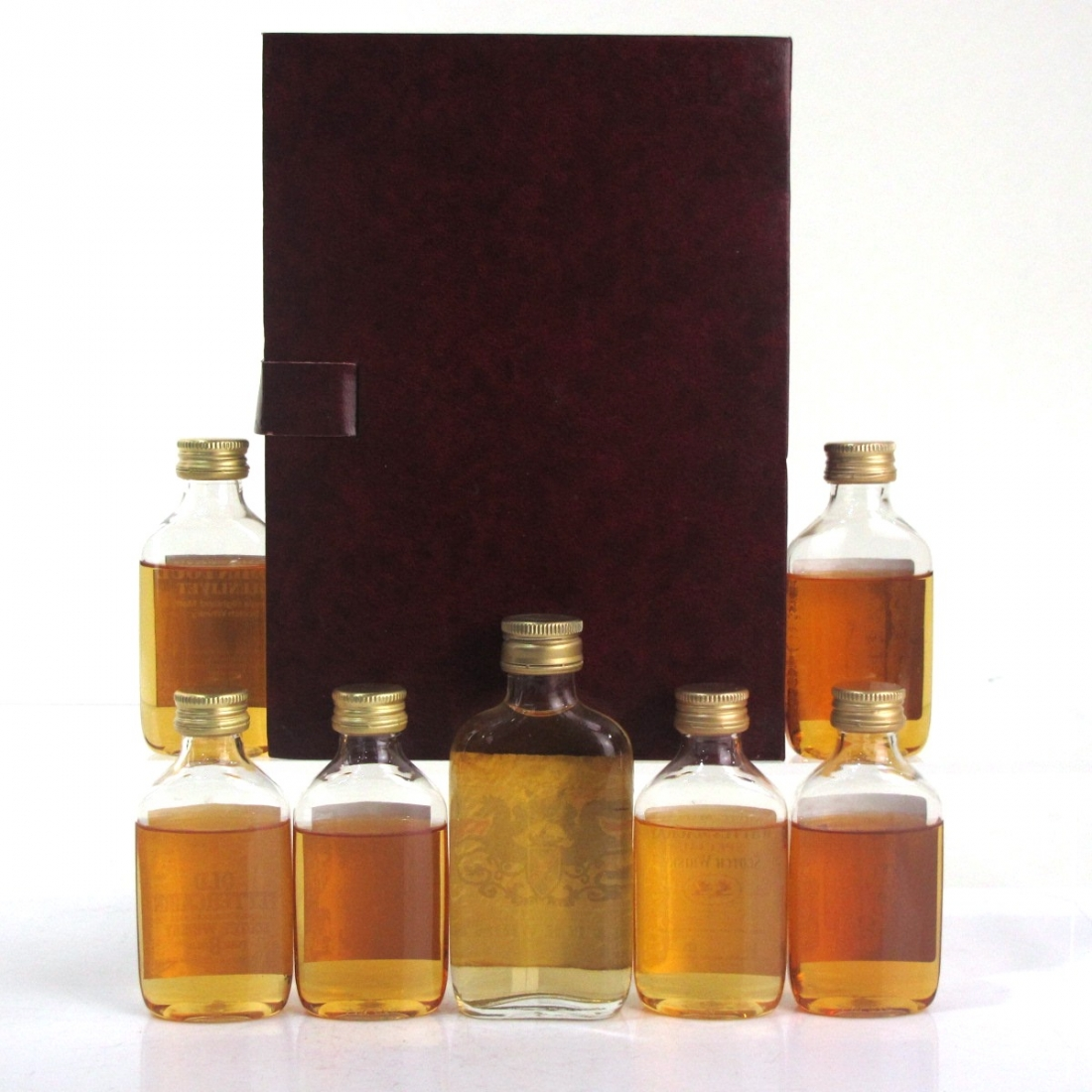 Whyte and Mackay Scotch Whisky Collection 6 x 5cl & Uisge Beatha Miniature 1970s