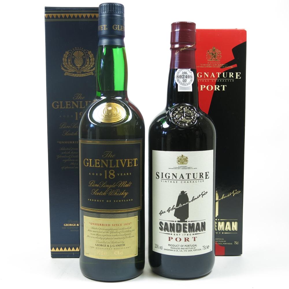 Glenlivet 18 Year Old Giftpack / Free Bottle of Sandeman Port