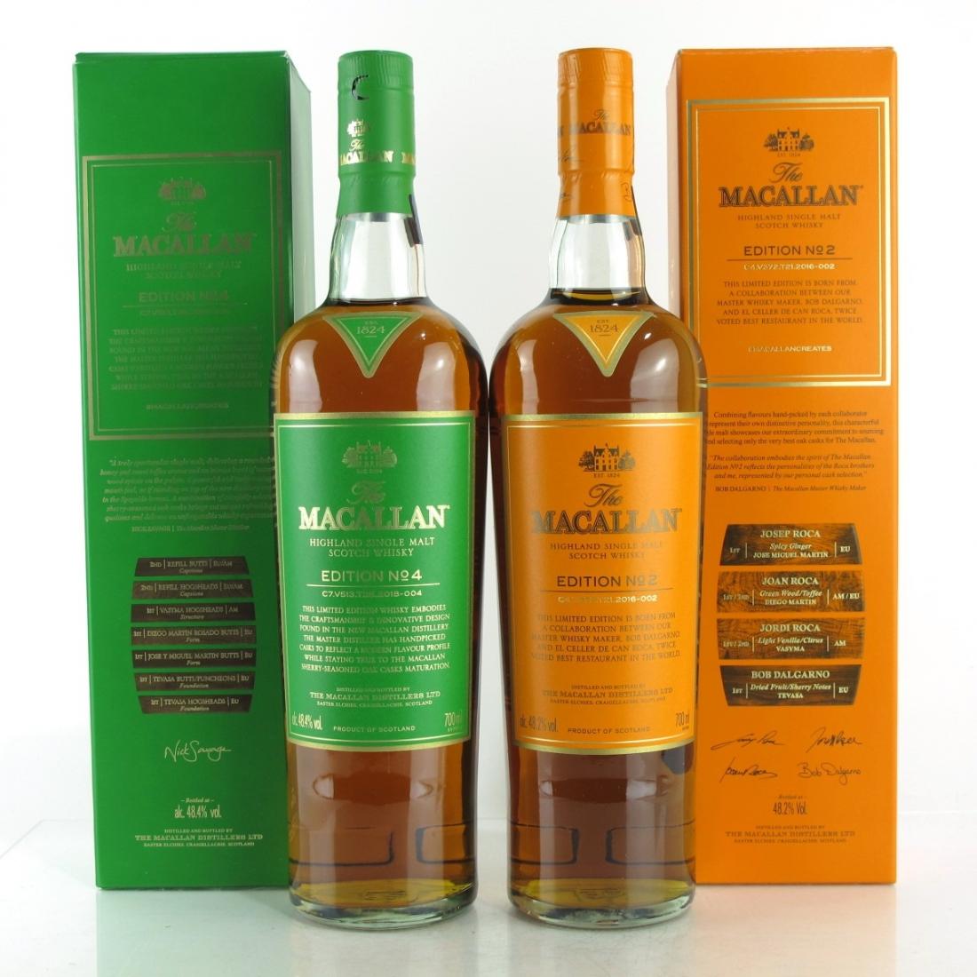 Macallan Edition No.2 and No.4 / 2 x 70cl