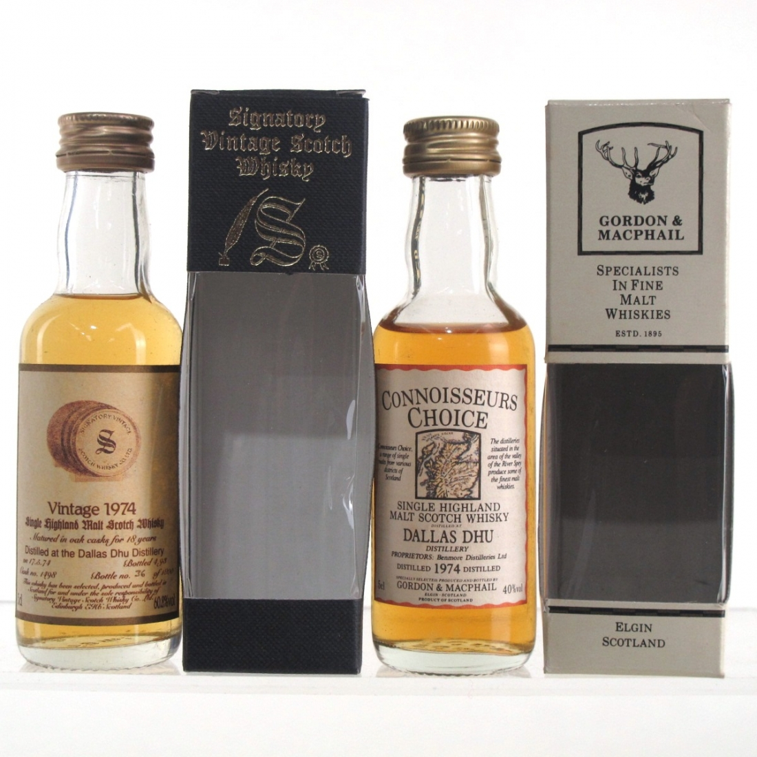 Dallas Dhu 1974 Gordon and MacPhail & Signatory Vintage Miniature Selection 2 x 5cl