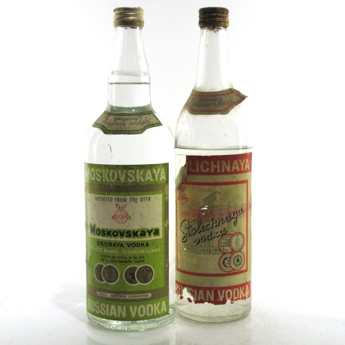 Moskovskaya & Stolichnya Russian Vodka x 2 1960s