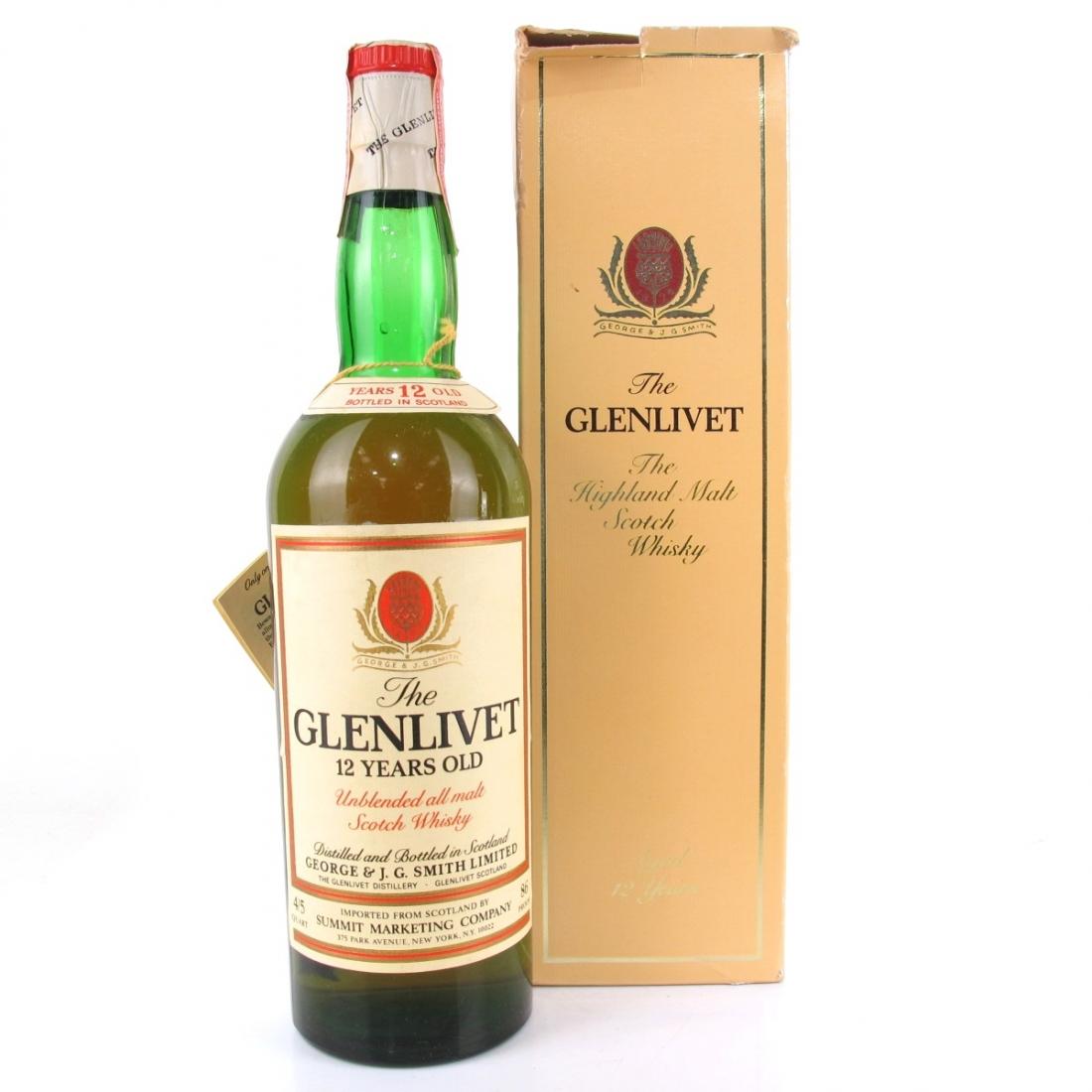 Glenlivet 12 Year Old 4/5 Quart 1970s / US Import