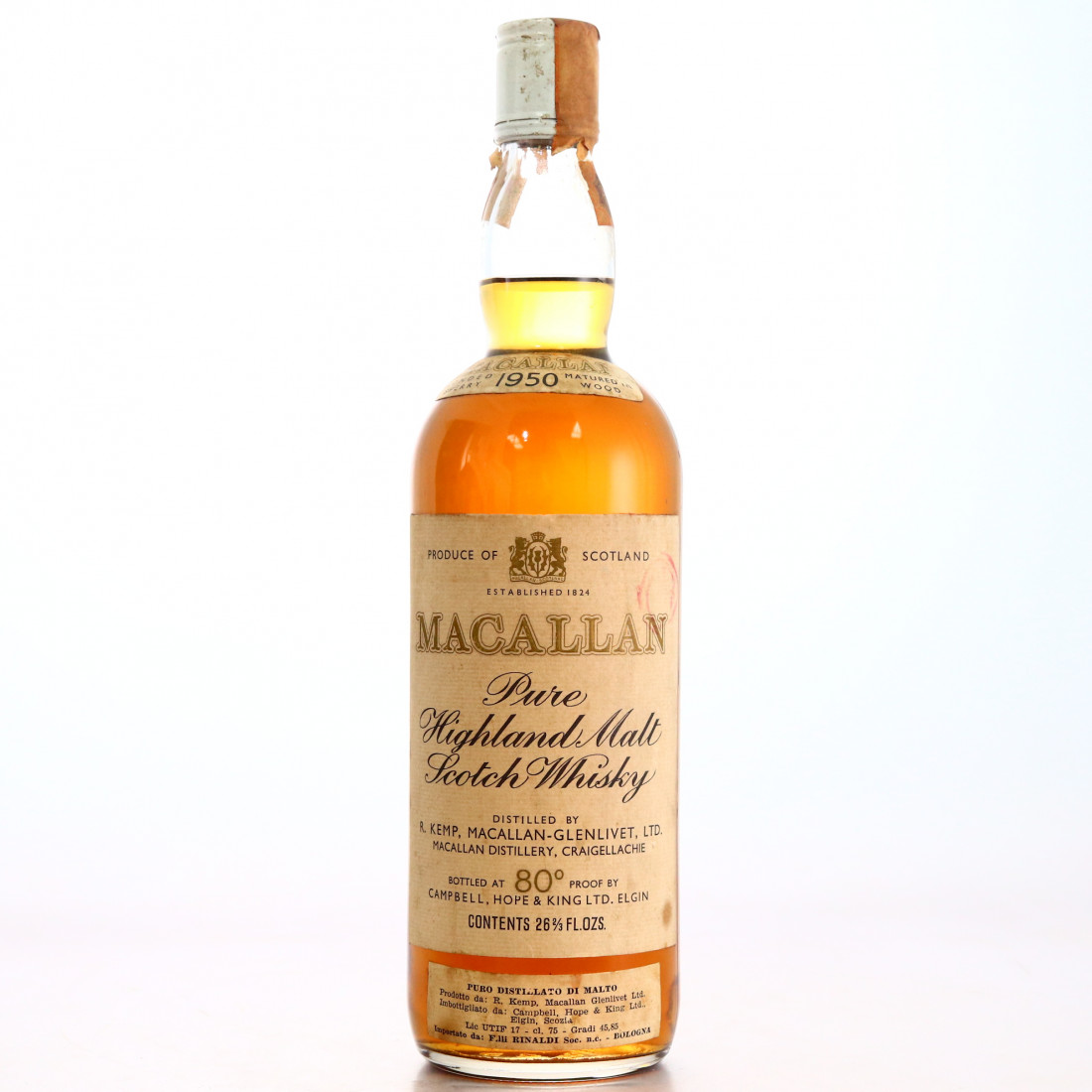 Macallan 1950 Campbell, Hope and King 80 Proof / Rinaldi Import