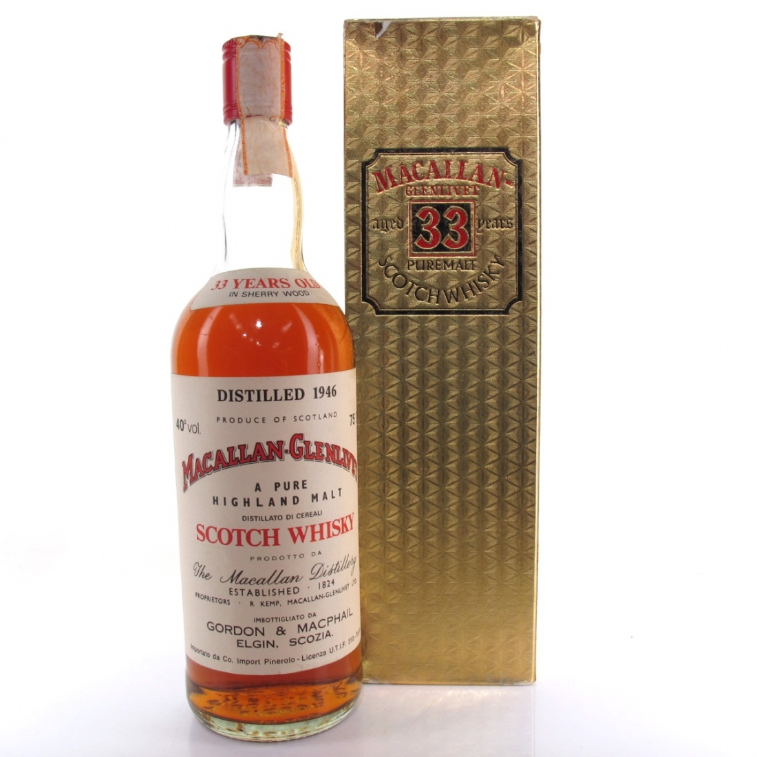 Macallan 1946 Gordon and MacPhail 33 Year Old / Pinerolo Import