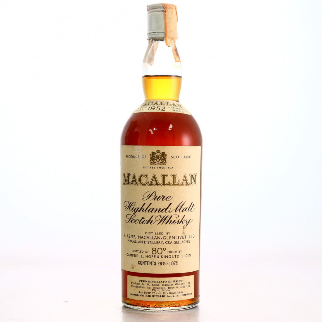 Macallan 1952 Campbell Hope and King 80 Proof / Rinaldi Import