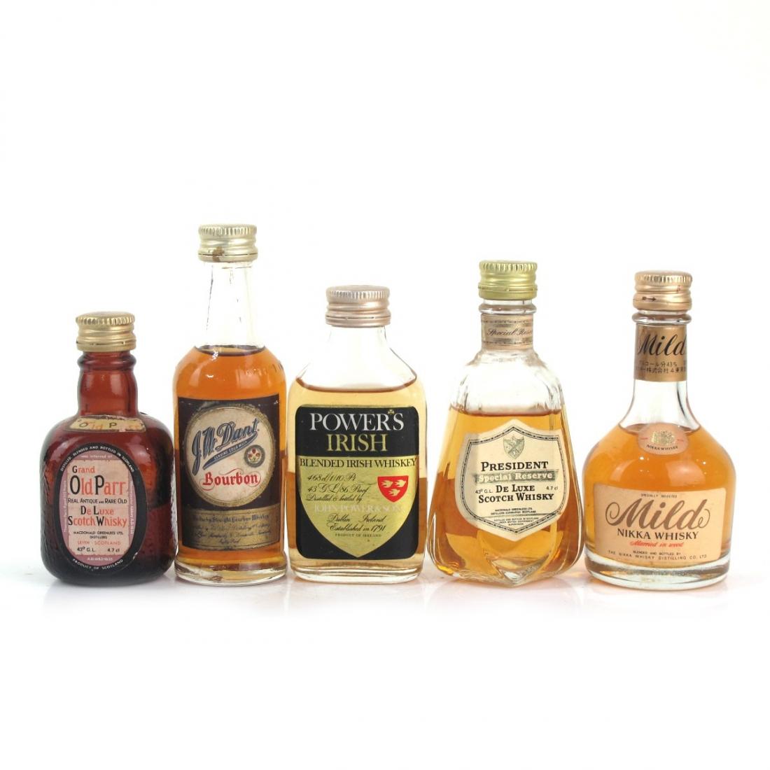 Miscellaneous Single Malt Miniature Selection x 5 / includes Powers, President, J.W Dant, Nikka Mild & Grand Old Parr