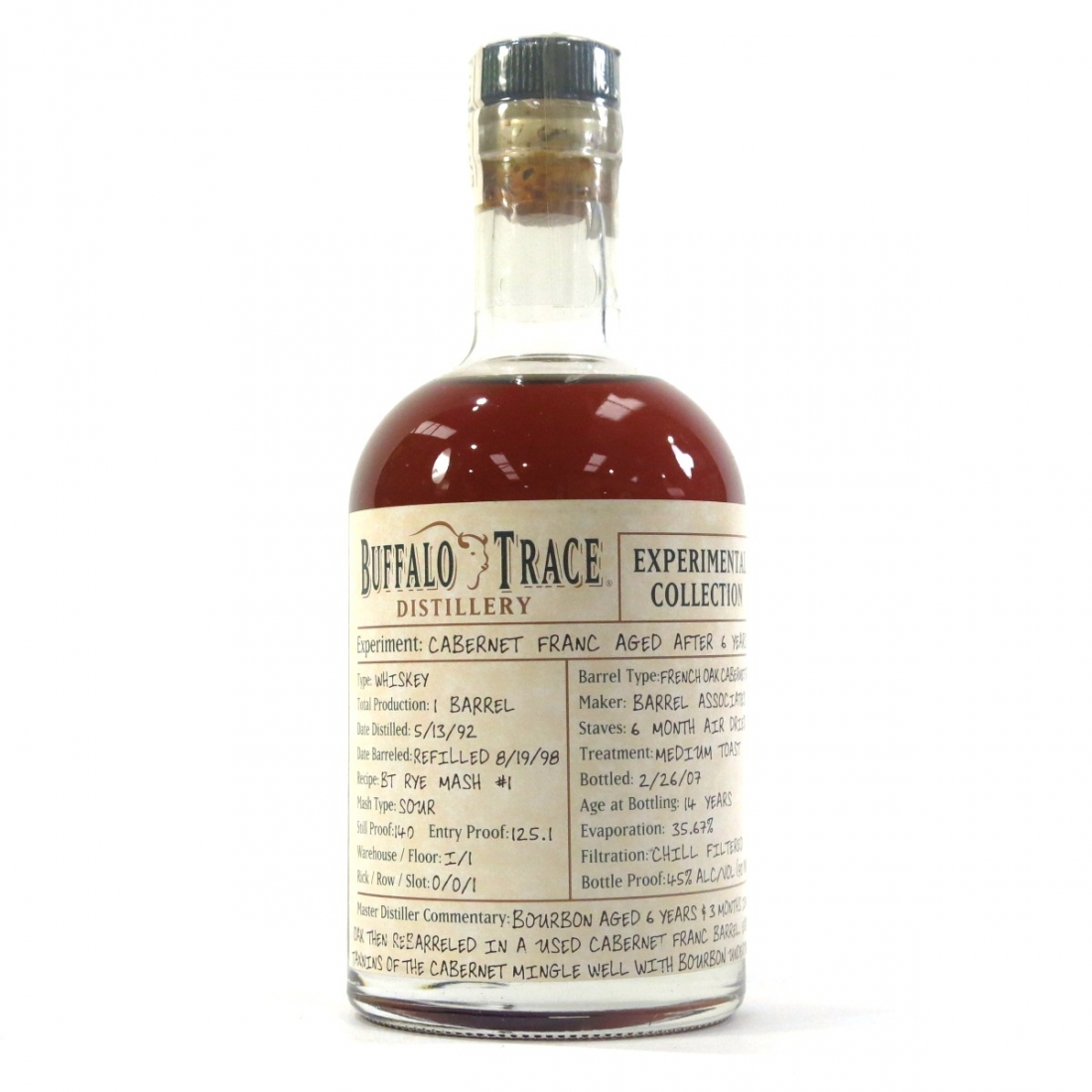 Buffalo Trace 1992 Experimental Collection 14 Year Old 37.5cl / 8 Year Cabernet Franc Finish