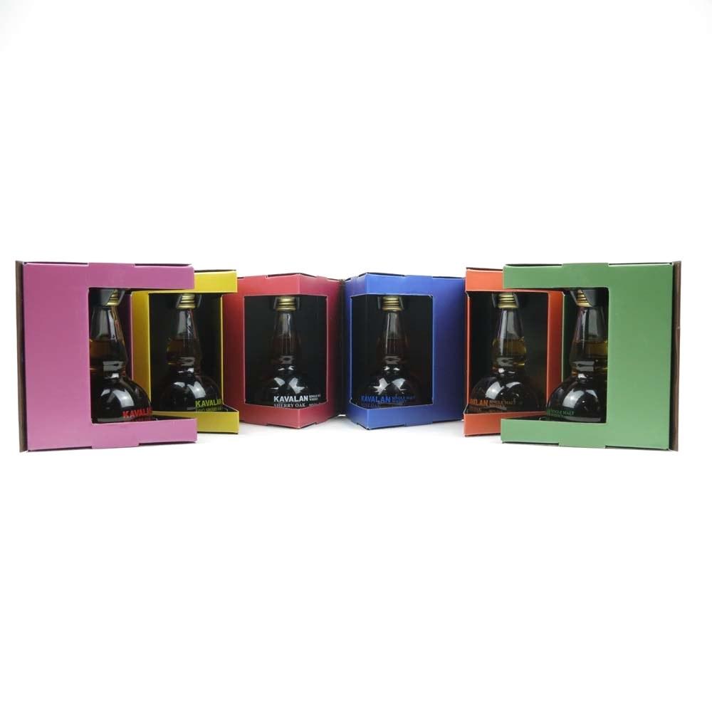 *DESCRIPTION Kavalan 'Hexagon' Pot Still Miniature Selection 5 x 6cl