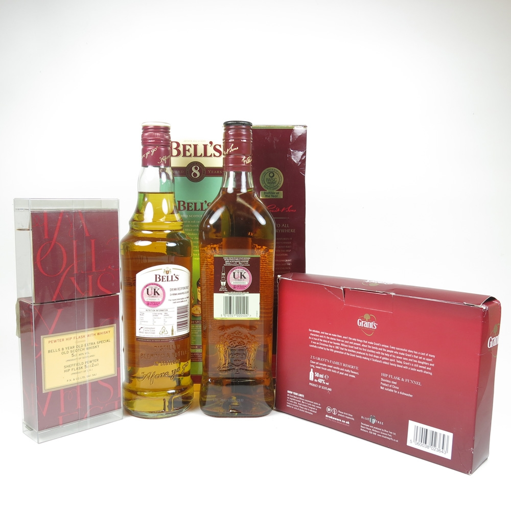 Grant's / Bell's Selection 2x 70cl & 2x Gift Pack