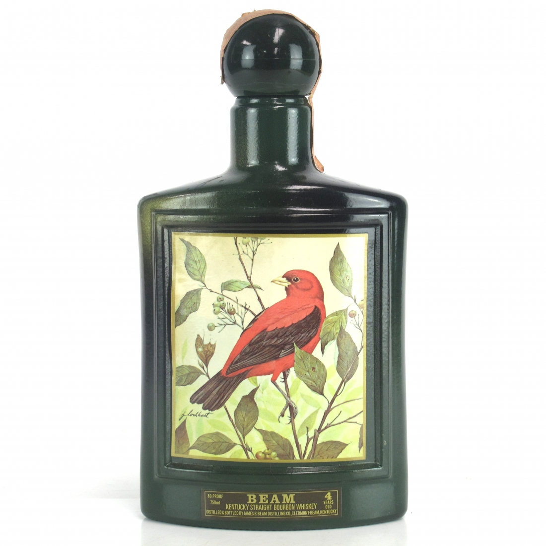 Jim Beam 4 Year Old Decanter 1980s / Scarlet Tanager