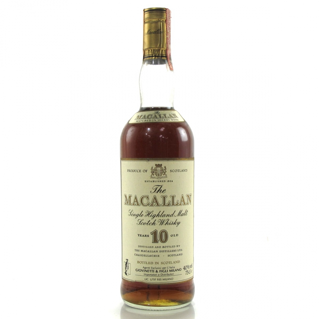 Macallan 10 Year Old 1980s / Giovinetti Import