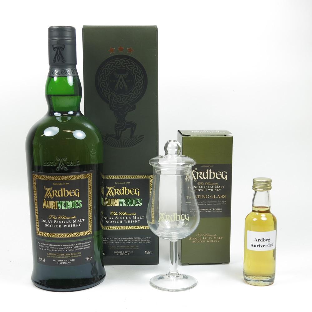 Ardbeg Auriverdes and Tasting Glass and Miniature Sample