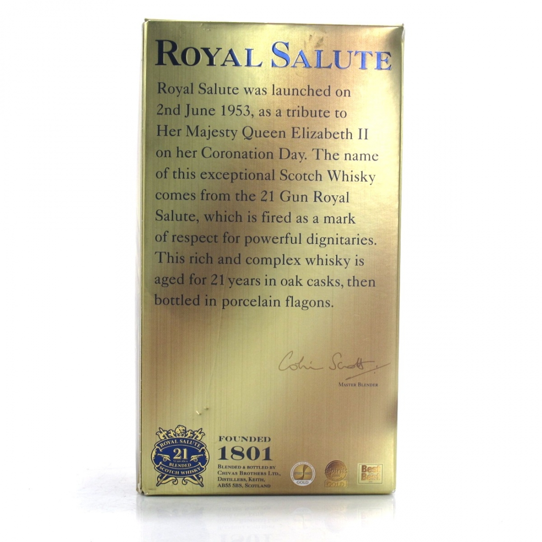 Chivas 21 Year Old Royal Salute Sapphire Flagon / with Miniature 5cl