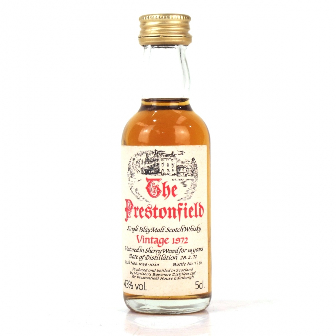 Bowmore 1972 Prestonfield House 16 Year Old Miniature 5cl