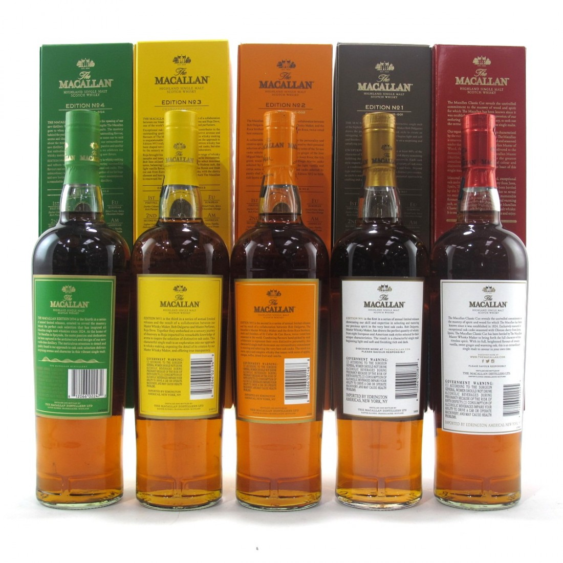 Macallan Edition No.1-4 Collection & Classic Cut 2017 5 x 75cl / US Imports