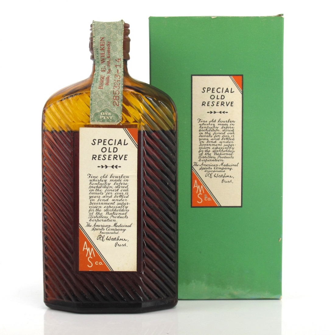 American Medicinal Spirits Co 1917 Special Old Reserve Bourbon / Pre-Prohibition