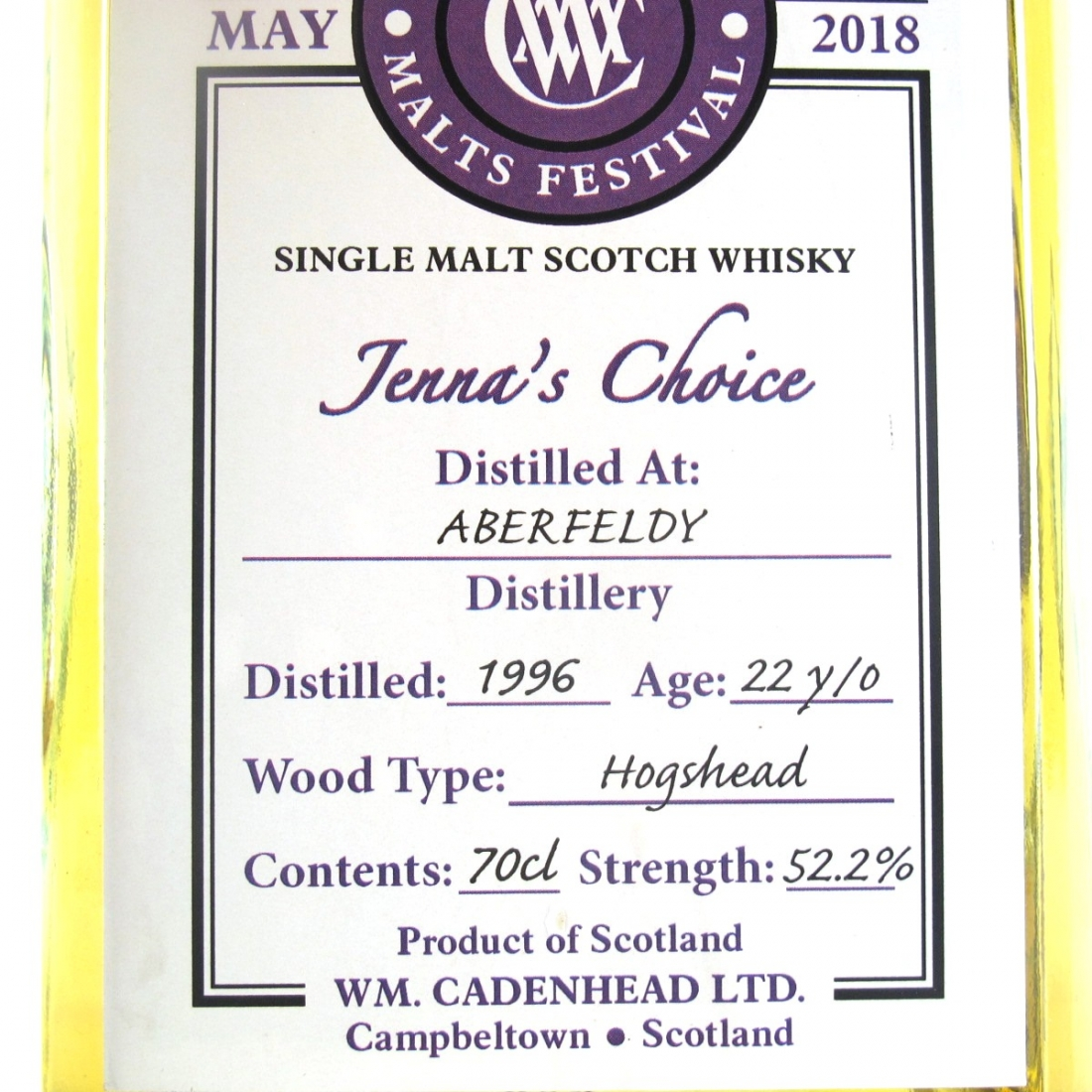 Aberfeldy 1996 Cadenhead's 22 Year Old / Jenna's Choice