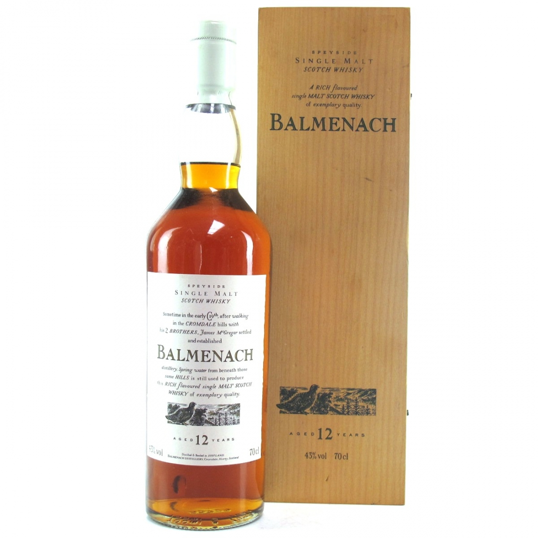 Balmenach 12 Year Old Flora and Fauna / Wooden Box White Cap