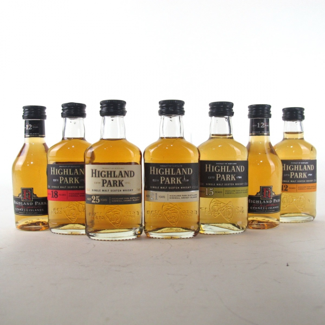 Highland Park Miniature Selection 7 x 5cl / Including 25 Year Old