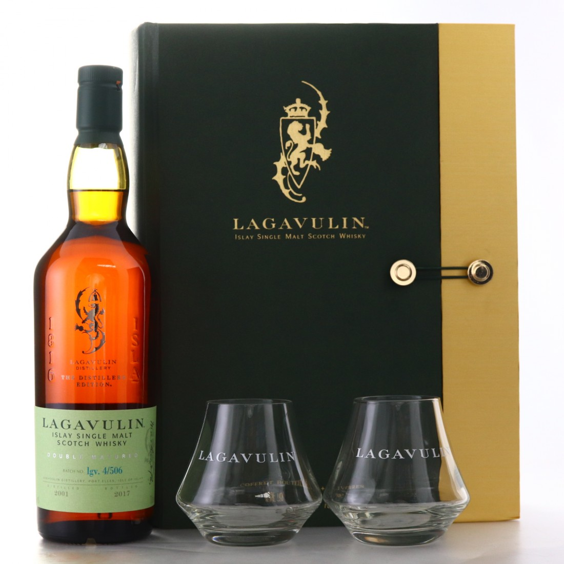 Lagavulin 2001 Distillers Edition Gift Set / Including 2 Tumblers