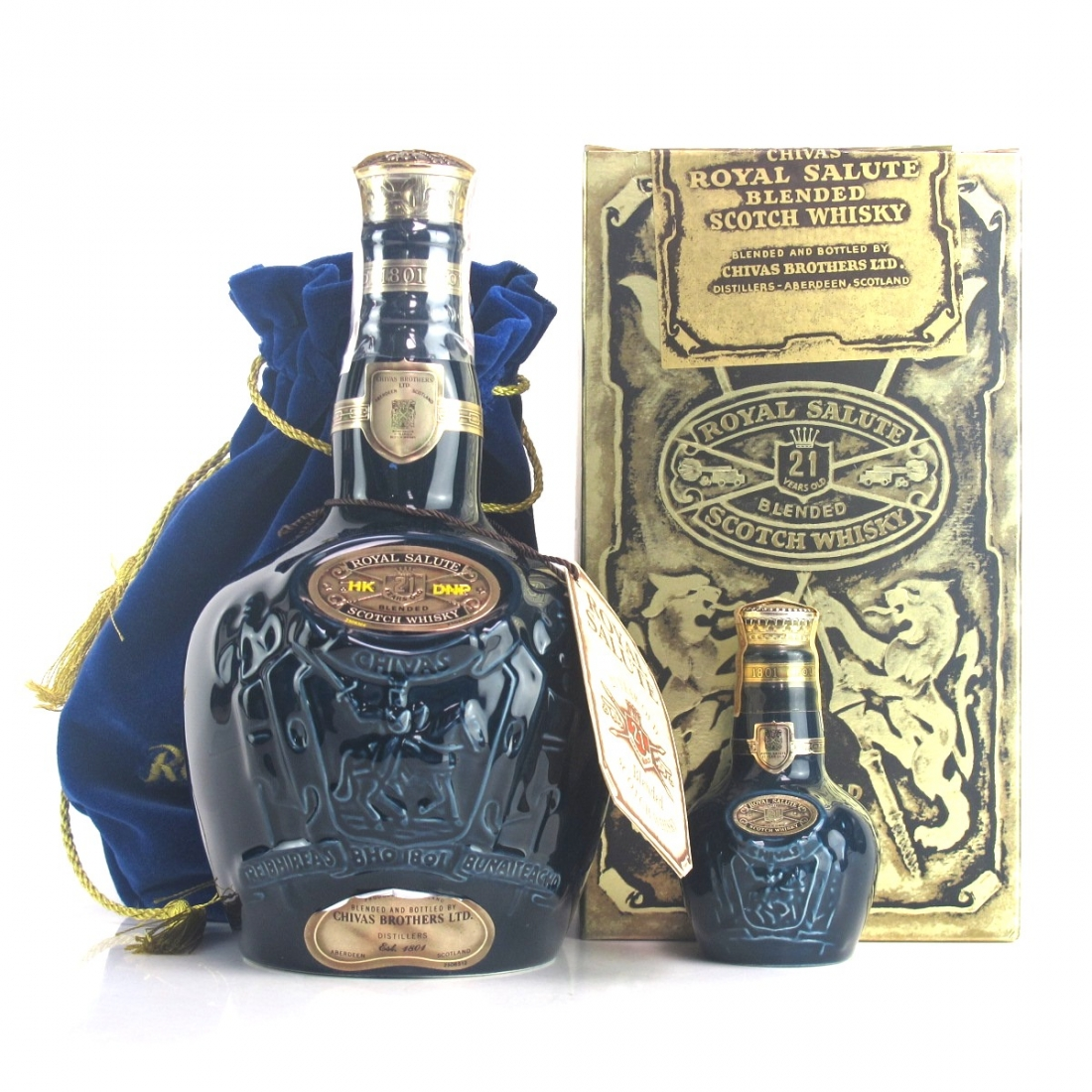 Chivas 21 Year Old Royal Salute / Sapphire Flagon with Miniature 5cl