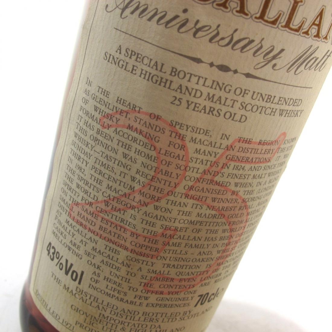 Macallan 1971 Anniversary Malt 25 Year Old / Giovinetti Import