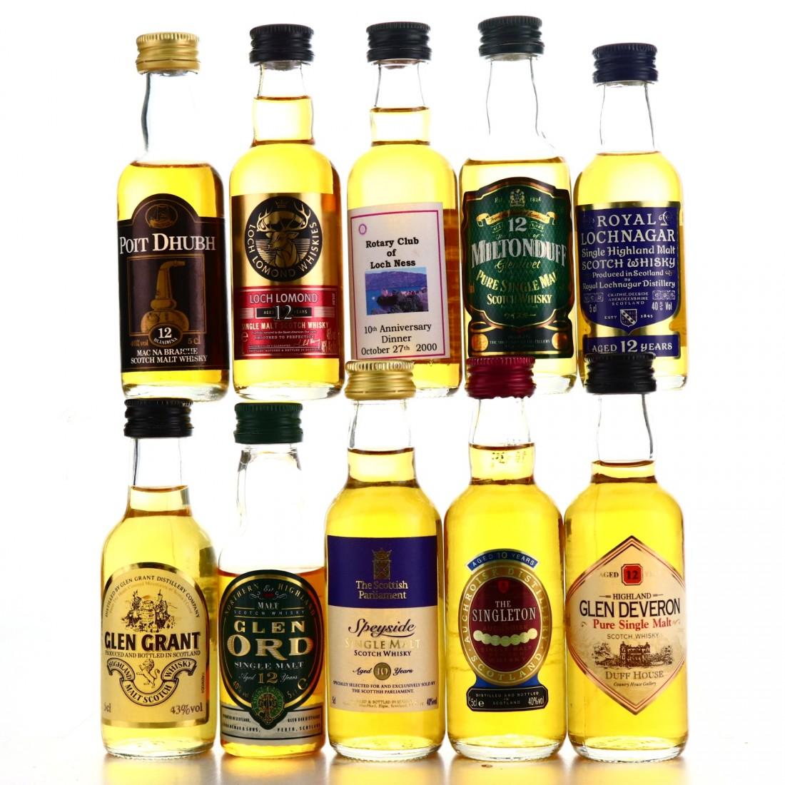 Highland & Speyside Miniatures x 10 / includes Royal Lochnagar