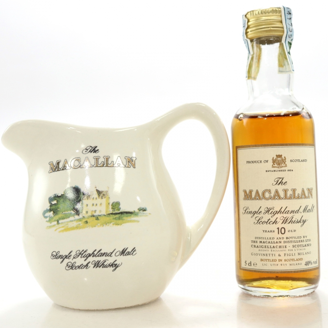 Macallan 10 Year Old Miniature 5cl / Branded Water Jug