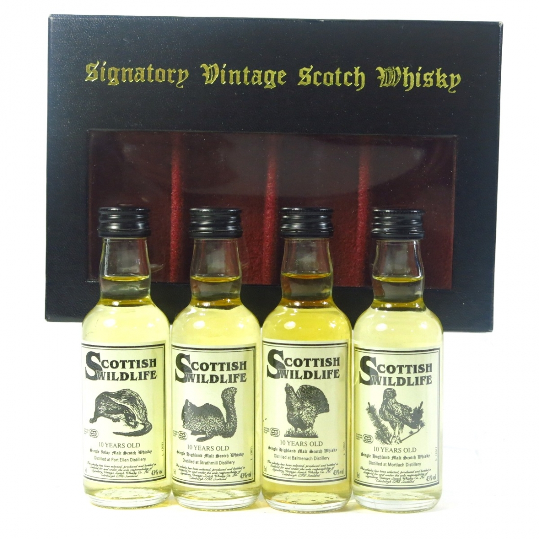 Signatory Vintage 10 Year Old Scottish Wildlife Miniatures 4 x 5cl / including Port Ellen