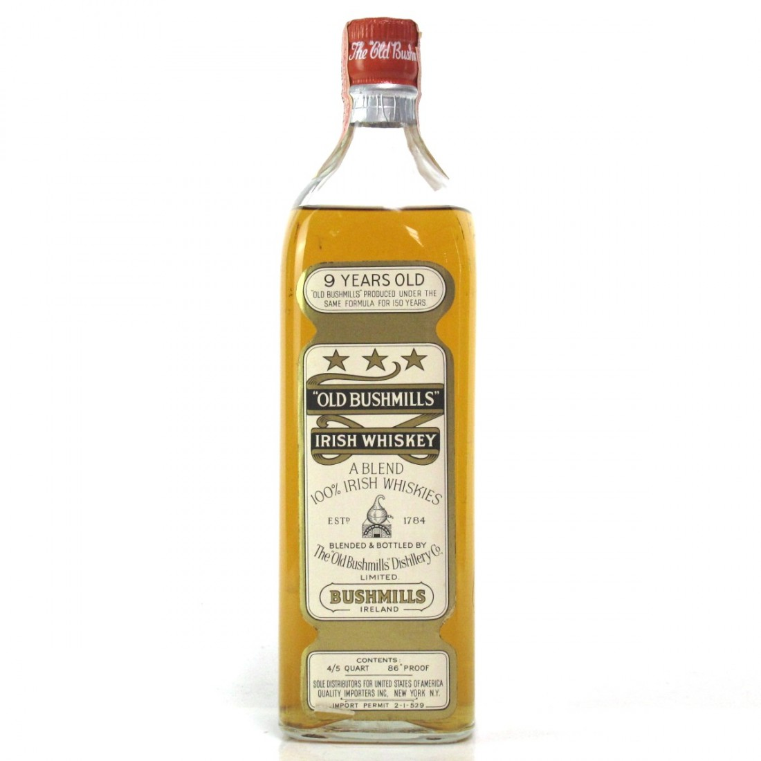 Bushmills 9 Year Old Irish Whiskey 1960s / US Import