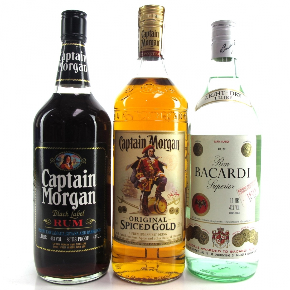 Rum Selection 3 x 1 Litre / Including Captain Morgan