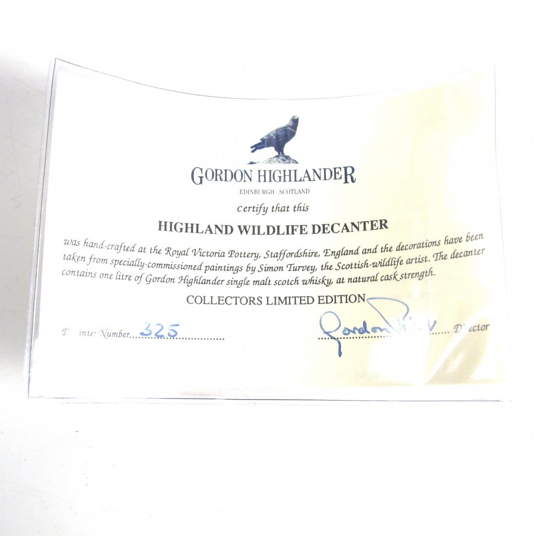 Gordon Highlander 12 Year Old Wildlife Decanter 100 Proof 33.3 Fl. Ozs.