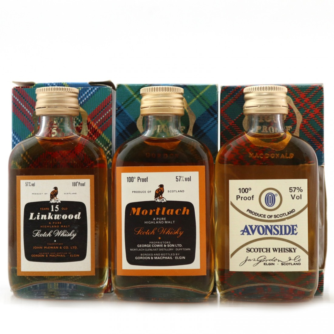 Gordon and MacPhail Miniature Selection x 3 1970s/80s