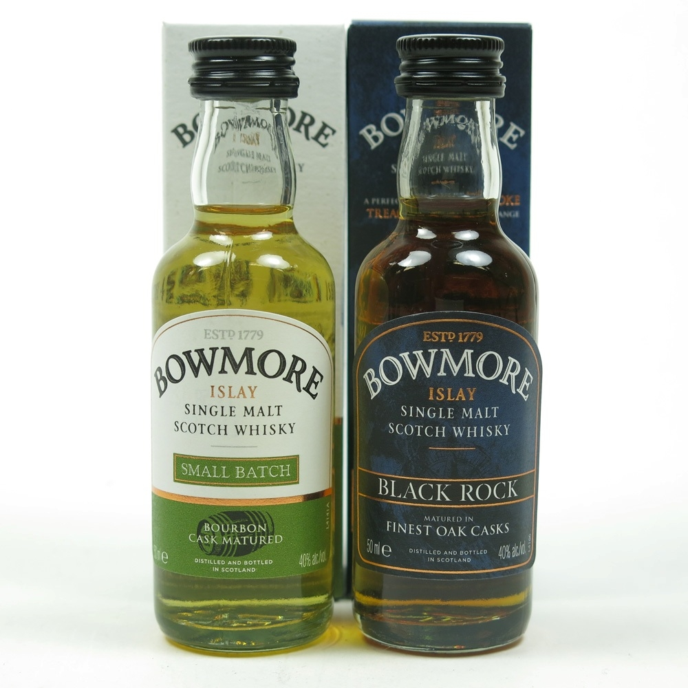 Bowmore Black Rock and Small Batch Miniatures 2 x 5cl