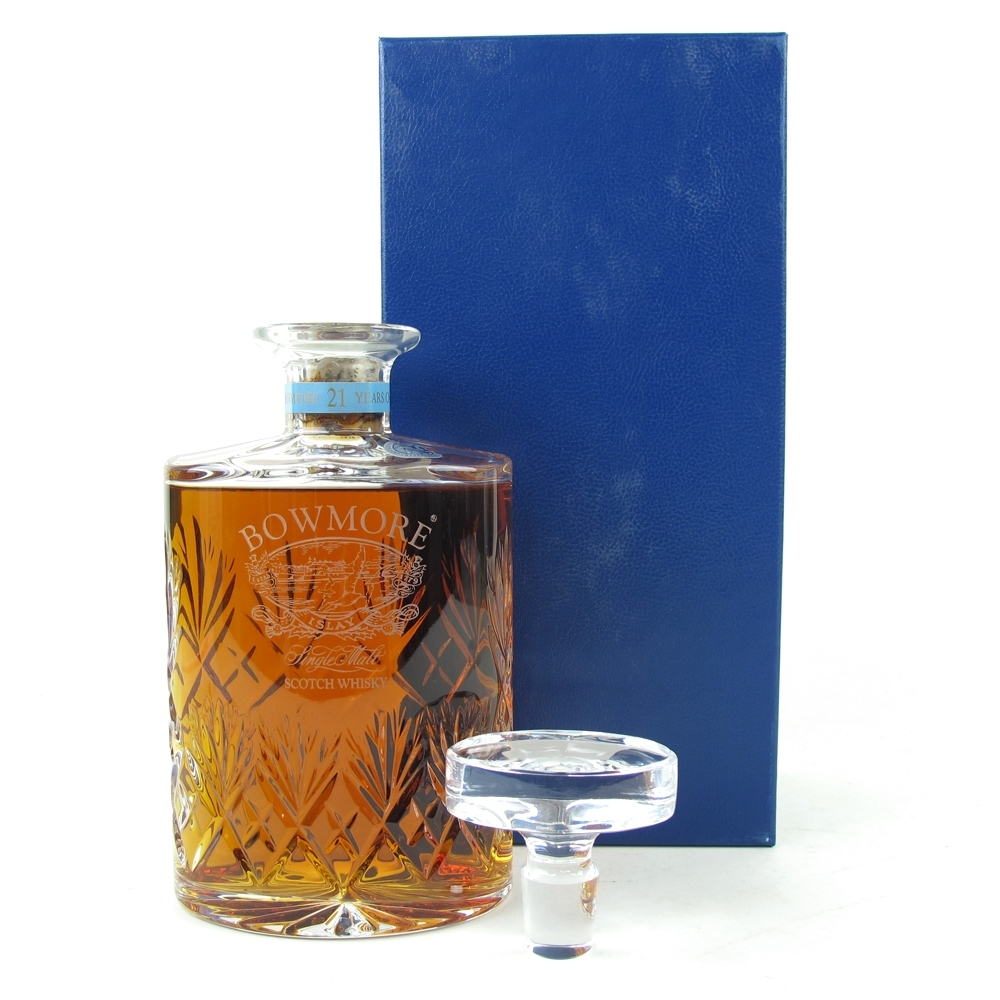 Bowmore 21 Year Old Glen Cairn Crystal Decanter 75cl / Damaged Seal