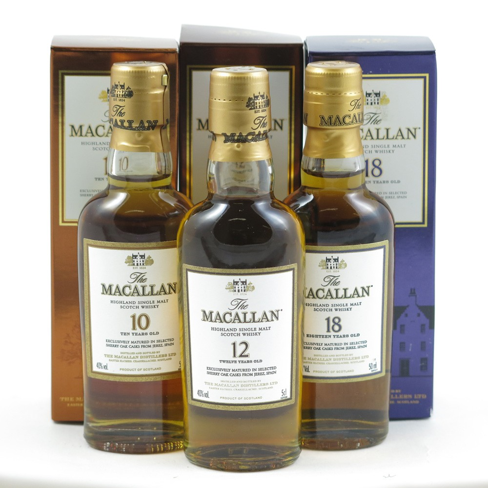 Macallan Miniature Selection 10 / 12 / 18 Year Old 3 x 5cl front