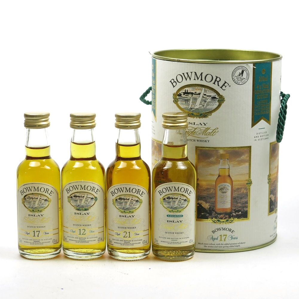 Bowmore Miniature Collection / Legend, 12, 17 and 21 Year Old 4 x 5cl Front