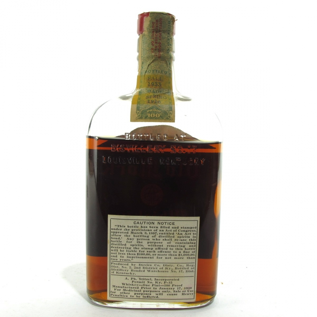 Old Mock 1916 A Ph Stitzel 18 Year Old Pint / Prohibition Era Bottling