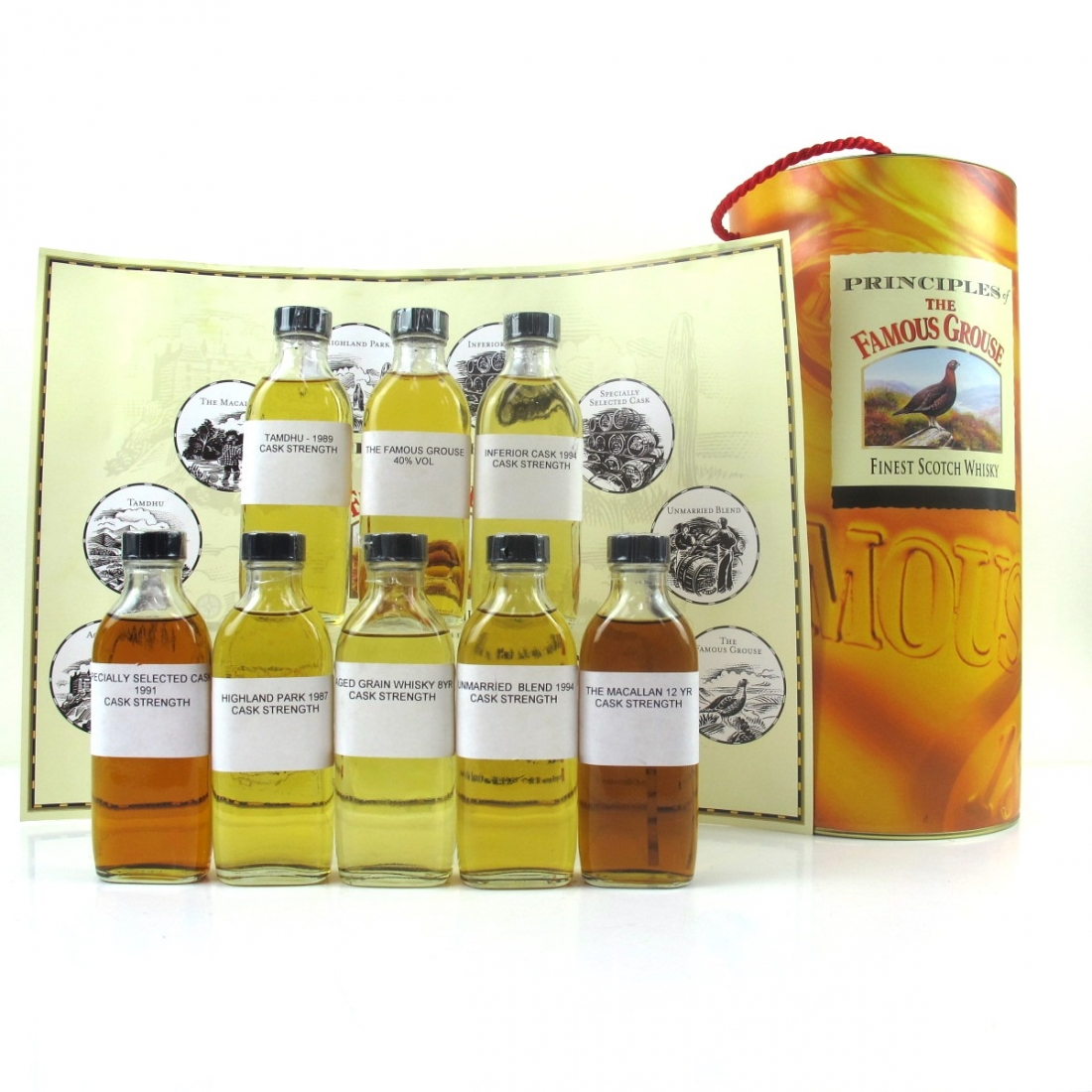 Famous Grouse Principles Tasting Set 8 x 10cl / Including Macallan 12 and Highland Park 1987 Cask Strength