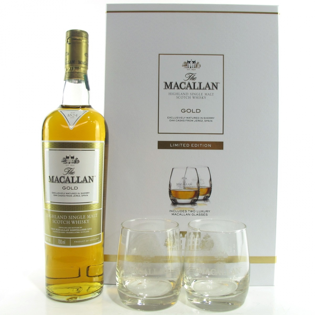 Macallan Gold Gift Pack / including 2 x Glasses